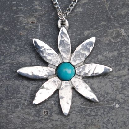 Lily flower pendant necklace with turquoise P32